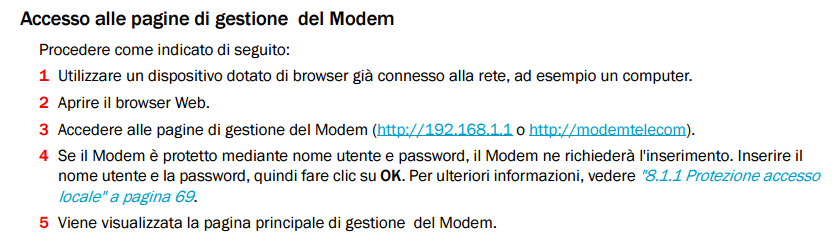 192.168.1.1 gestione modem Telecom